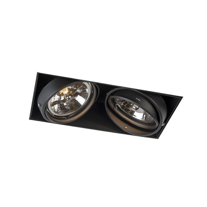 Inbouwspot-zwart-AR111-draai--en-kantelbaar-trimless-2-lichts---Oneon