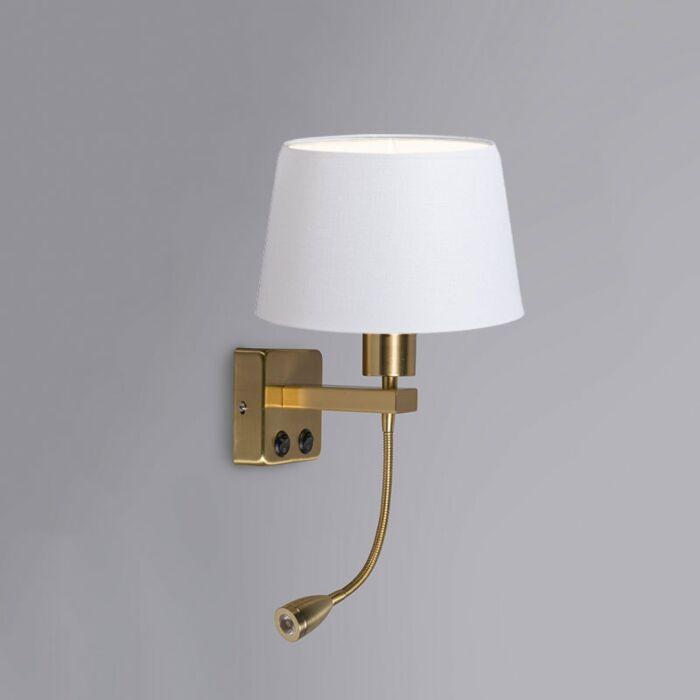Wandlamp-Brescia-Combi-goud-met-kap-20cm-wit