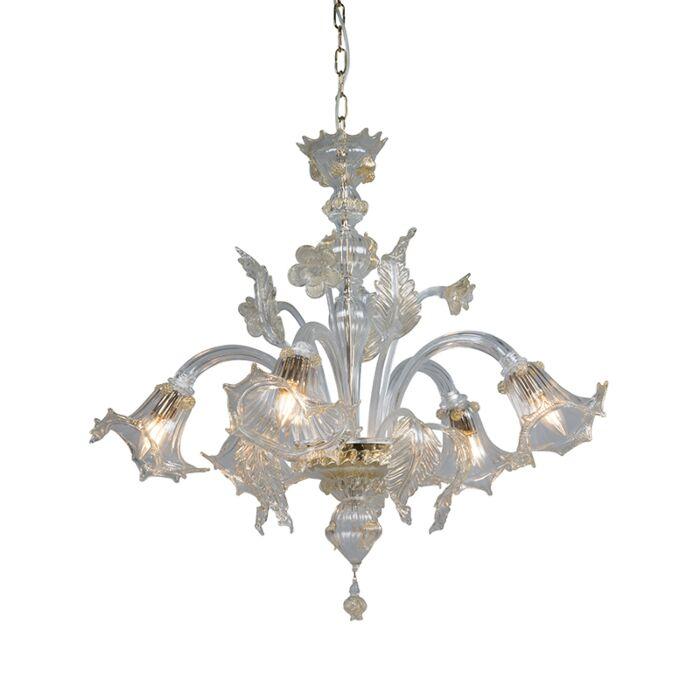 Kroonluchter-Accademia-5-Down-kristal-met-goudaccenten