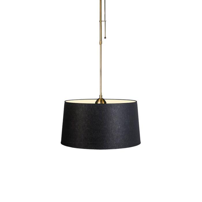 Hanglamp-Mix-1-brons-met-kap-45cm-zwart