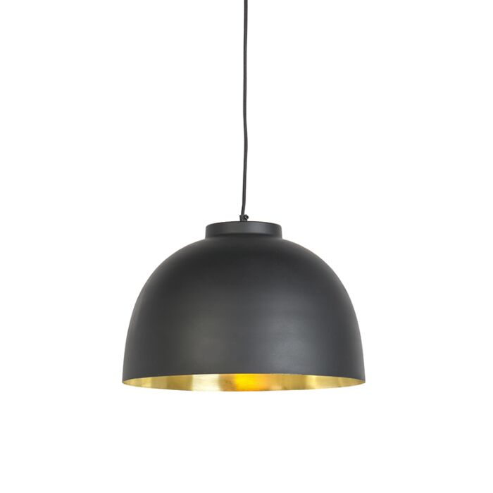 Hanglamp-zwart-met-messing-binnenkant-40-cm---Hoodi