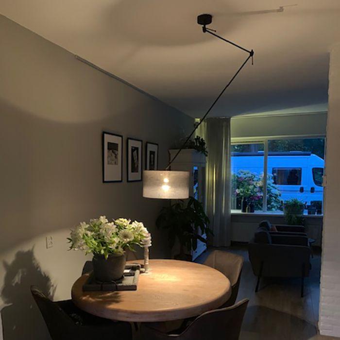 Hanglamp-zwart-met-kap-35-cm-donkergrijs-verstelbaar---Blitz-I