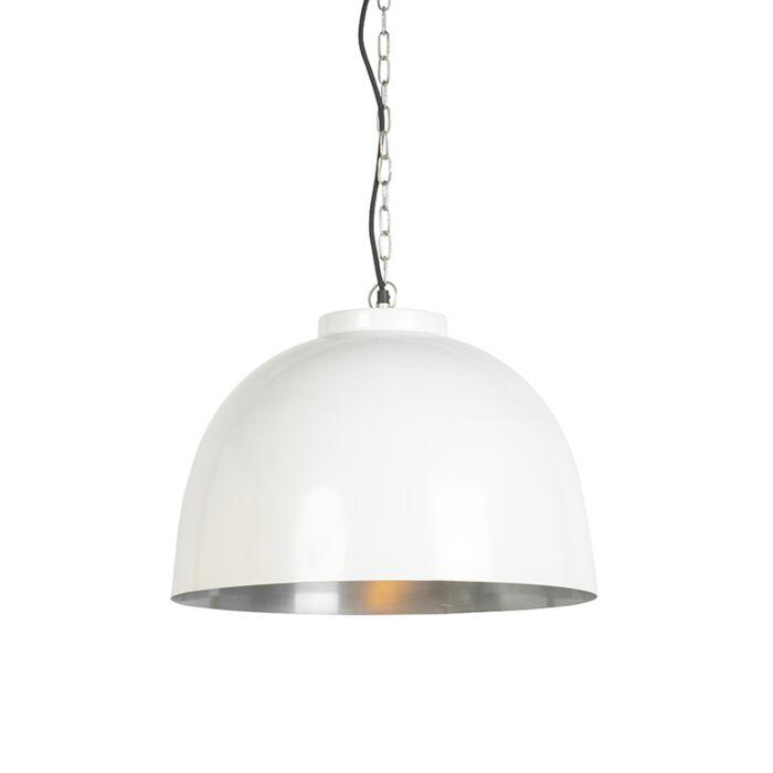 Hanglamp-wit-met-nikkel-binnenkant-45,5-cm---Hoodi