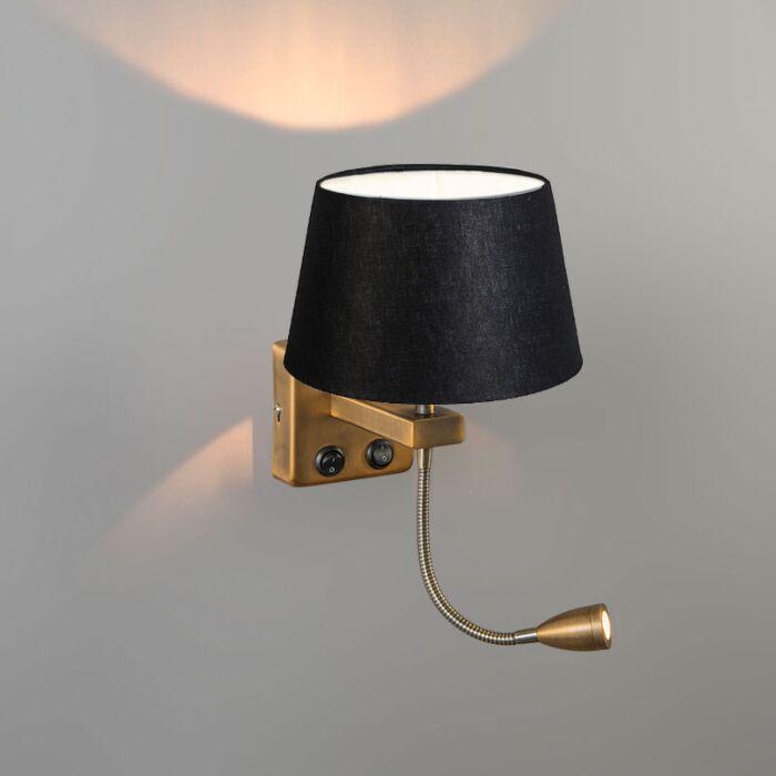 Wandlamp-Brescia-Combi-brons-met-kap-20cm-zwart