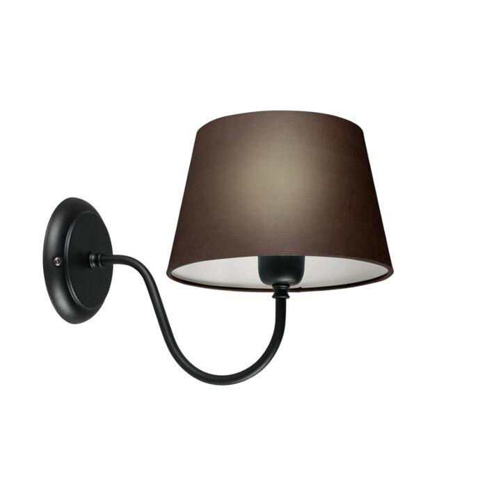 Wandlamp-Combi-Classic-zwart-met-kap-20cm-bruingrijs