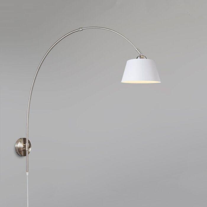 Wandlamp-Boog-staal-met-kap-20cm-wit