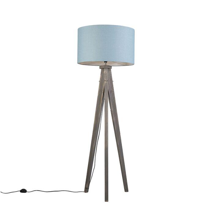 Vloerlamp-Karos-grijs-met-kap-55cm-zee-blauw
