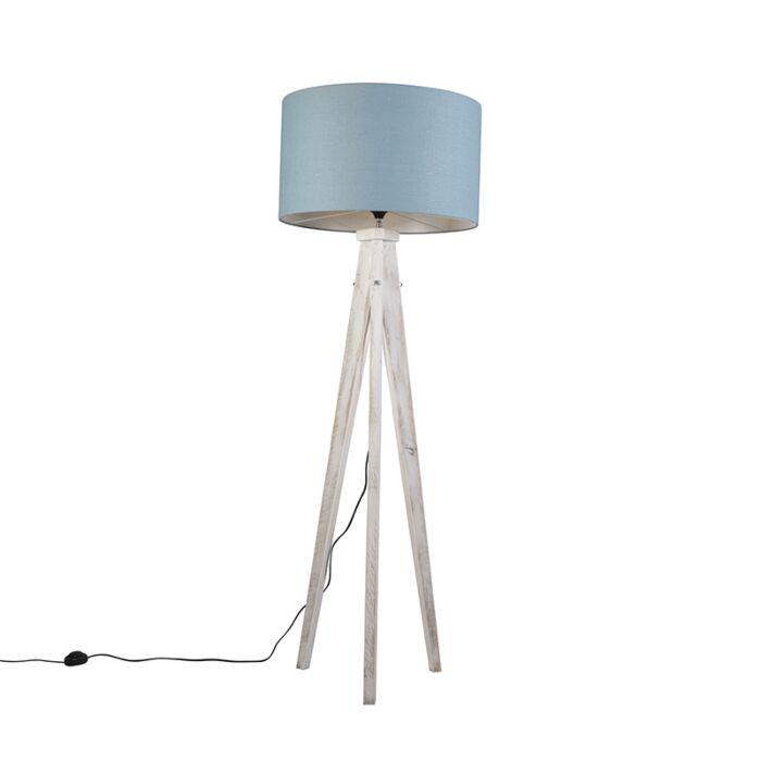 Vloerlamp-Karos-wit-met-kap-55cm-zee-blauw