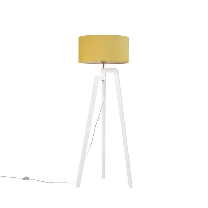 Moderne-vloerlamp-wit-met-mais-kap-50-cm---Puros