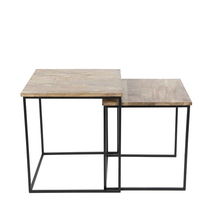 Bijzettafel-Hemis-zwart-met-hout-vierkant-set-van-2