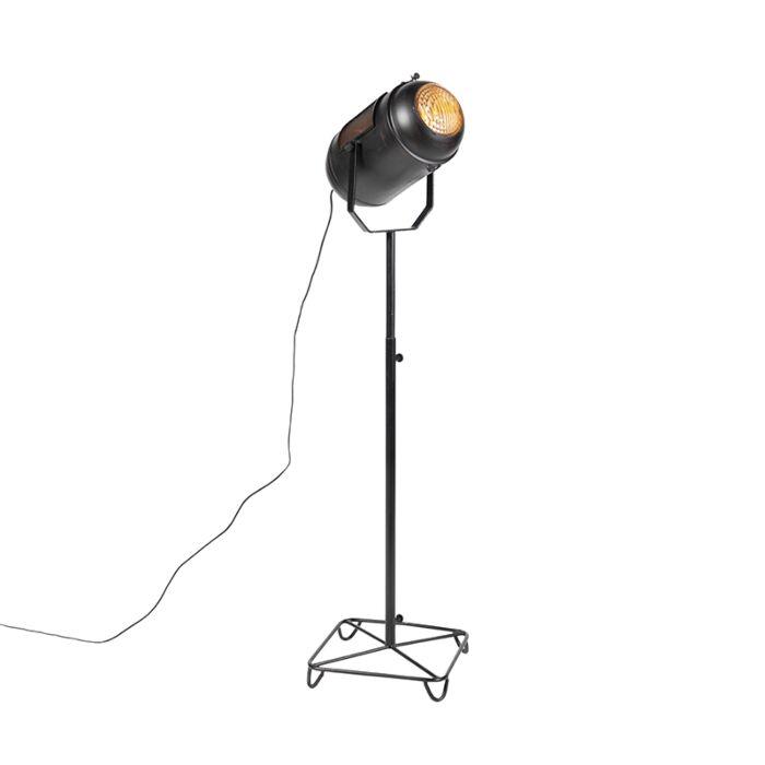 Vintage-filmspot-vloerlamp-zwart---Blake