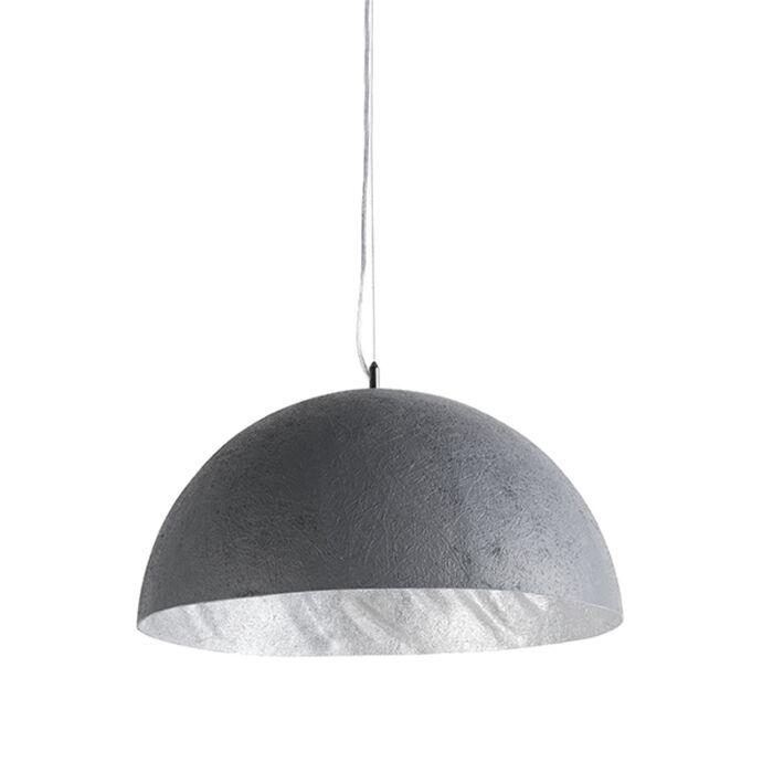 Hanglamp-Magna-50-betonlook-met-zilveren-binnenkant