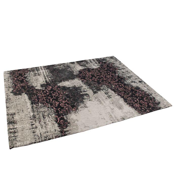 Vintage-rechthoekig-vloerkleed-zwart/roze-160-x-230cm---Puri