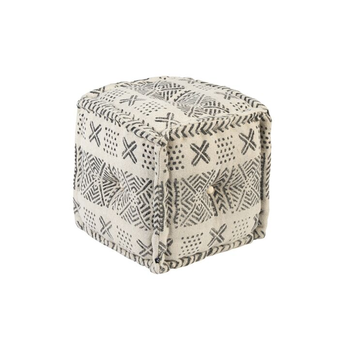 Oosterse-vierkante-poef-40x40cm-zwart-met-ecru---New-Delhi