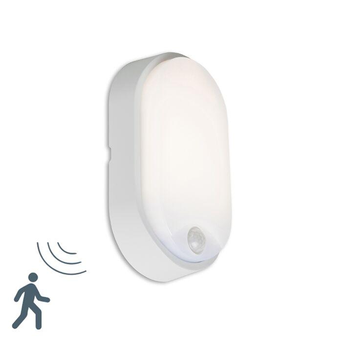Buitenlamp-Hortus-Wand-LED-PIR-sensor-IP54-ovaal-grijs