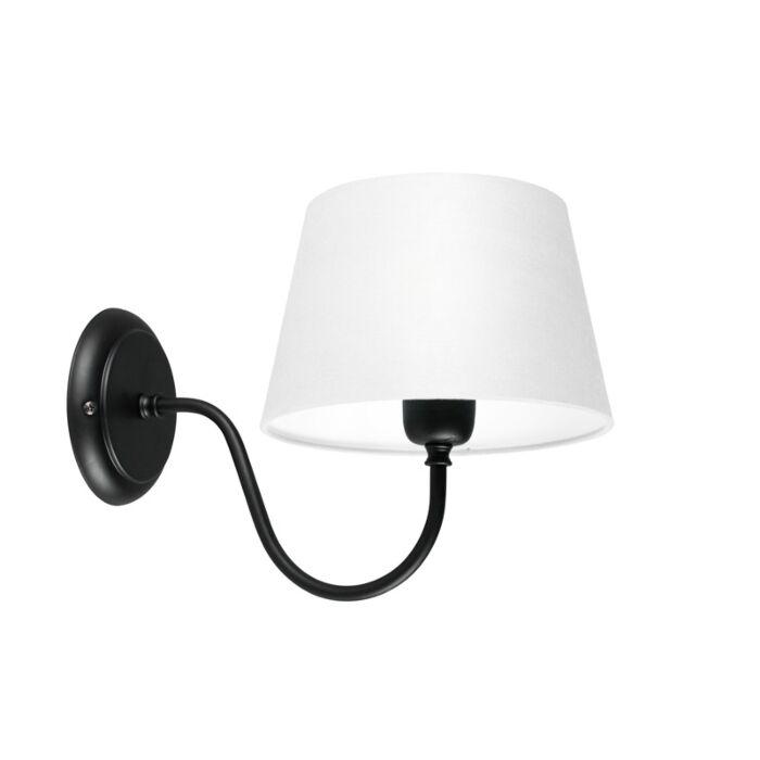 Wandlamp-Combi-Classic-zwart-met-kap-20cm-wit