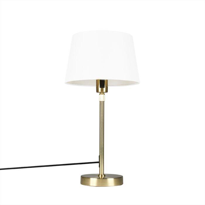 Tafellamp-goud/messing-met-kap-wit-25-cm-verstelbaar---Parte