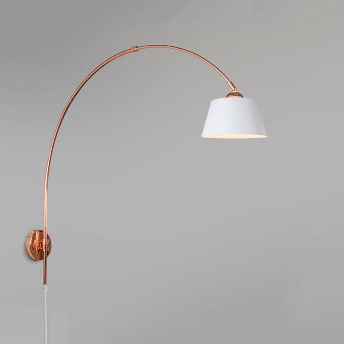 Wandlamp-Boog-koper-met-kap-20cm-wit