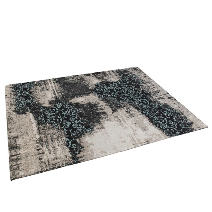 Vintage-rechthoekig-vloerkleed-zwart/turqouise-160-x-230cm---Puri