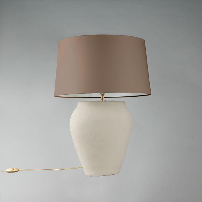 Tafellamp-Blava-ovaal-grijs-met-kap-45cm-taupe