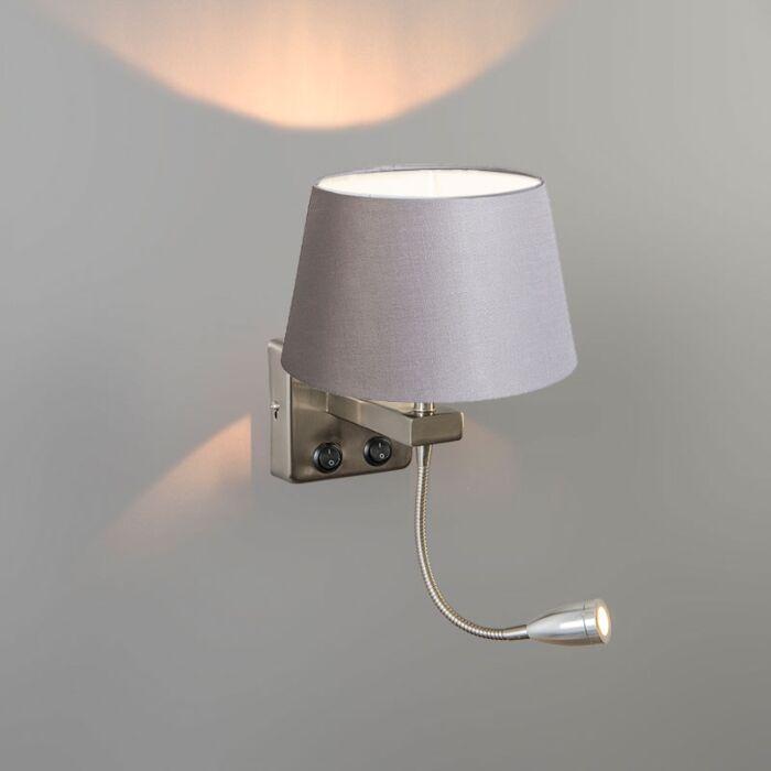 Wandlamp-Brescia-Combi-staal-met-kap-20cm-lichtgrijs