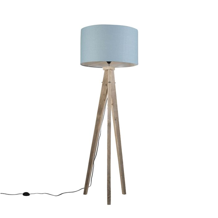 Vloerlamp-Karos-naturel-met-kap-55cm-zee-blauw