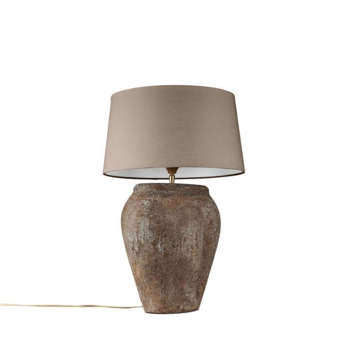 Tafellamp-Blava-ovaal-vintage-met-kap-45cm-taupe