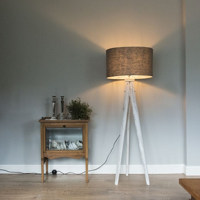 Vloerlamp-Karos-wit-met-kap-55cm-oud-grijs