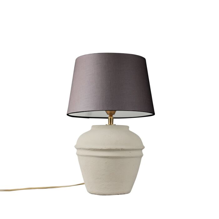 Tafellamp-Arta-XS-grijs-met-kap-25cm-bruingrijs