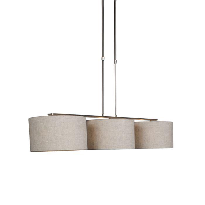 Moderne-hanglamp-staal-met-kap-35-cm-peper---Combi-3-Deluxe