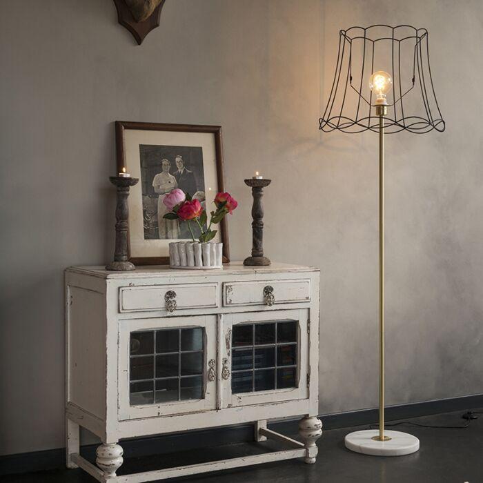 Retro-vloerlamp-messing-met-Granny-frame-zwart-45-cm---Kaso