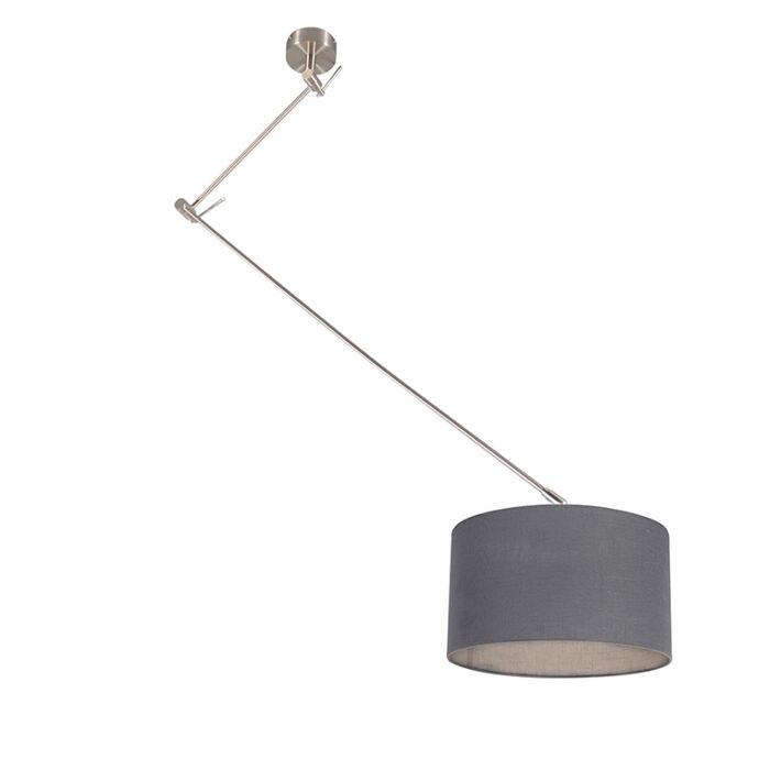 Hanglamp-staal-met-kap-35-cm-donker-grijs-verstelbaar---Blitz-I