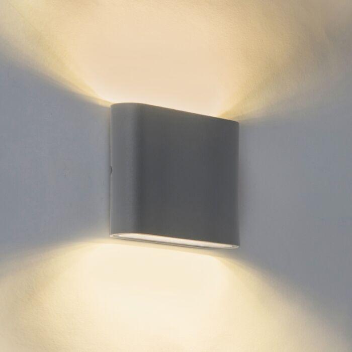 Moderne-buitenwandlamp-donkergrijs-11,5cm-incl.-5W-LED---Batt