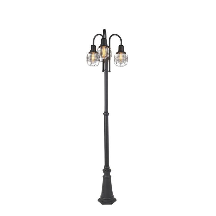 Landelijke-buitenlamp-zwart-3-lichts-IP44---Guardado