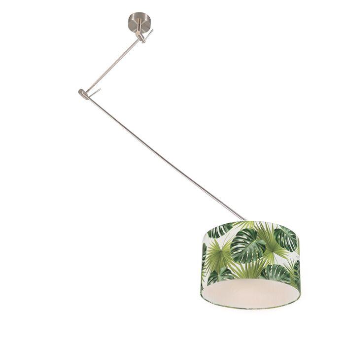 Moderne-hanglamp-staal-met-leaf-kap-35-cm---Blitz-1