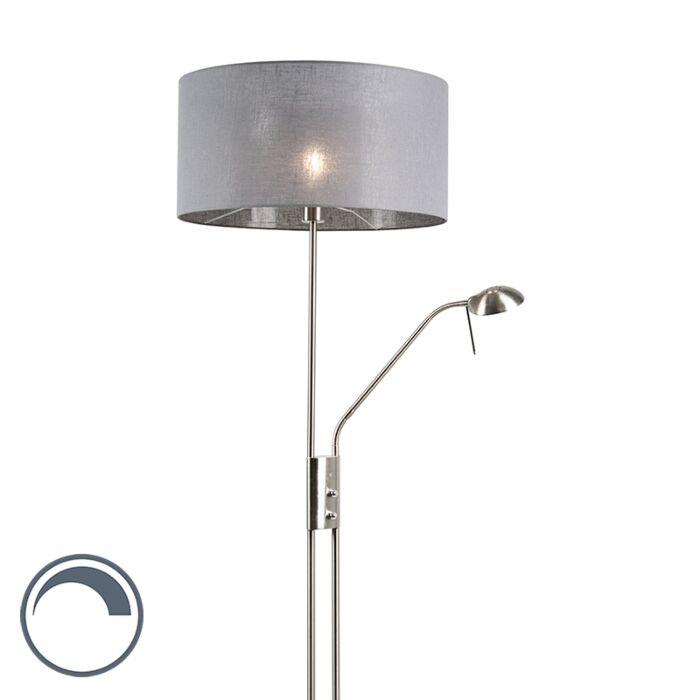 Moderne-vloerlamp-staal-en-grijs-met-verstelbare-leesarm---Luxor