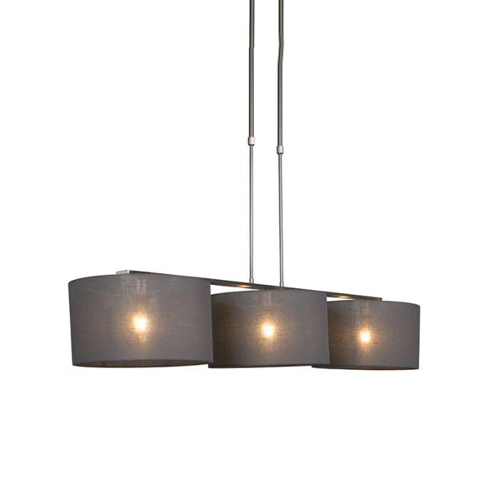 Hanglamp-staal-met-kap-35-cm-donker-grijs---Combi-3-Deluxe
