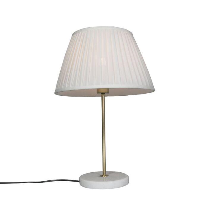 Retro-tafellamp-messing-met-Plisse-kap-crème-35-cm---Kaso