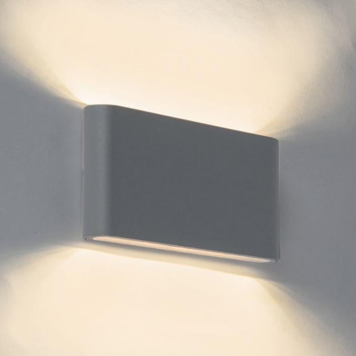 Moderne-buitenwandlamp-donkergrijs-17,5cm-incl.-9W-LED---Batt