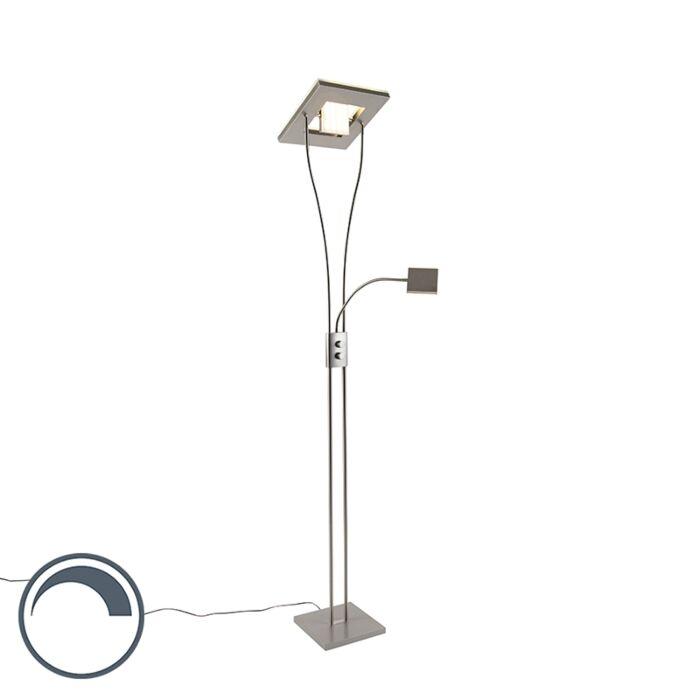 Moderne-vierkante-vloerlamp-staal-met-leeslamp-incl.-LED--Helia