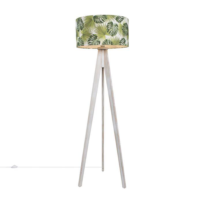 Vloerlamp-Tripod-Classic-wit-met-kap-50cm-leaf