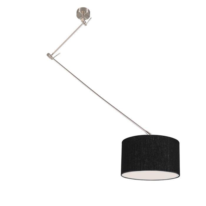 Hanglamp-staal-met-kap-35-cm-zwart-verstelbaar---Blitz-I