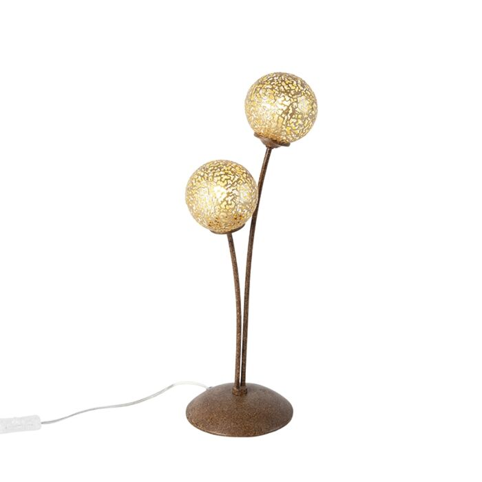 Landelijke-tafellamp-2-lichts-in-roestbruin---Kreta