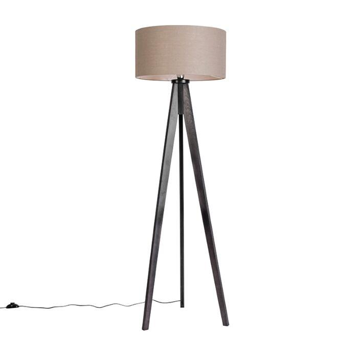 Vloerlamp-Tripod-Classic-zwart-met-kap-50cm-oud-grijs