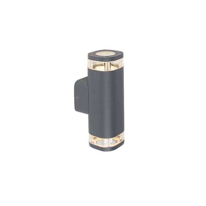 Buiten-wandlamp-donkergrijs-IP54-2-lichts---Fox