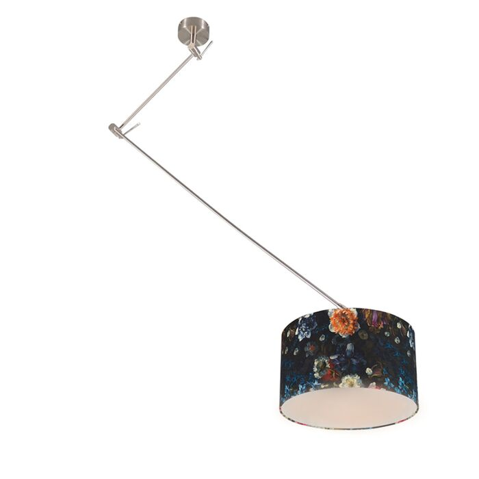 Moderne-hanglamp-staal-met-flora-kap-35-cm---Blitz-1