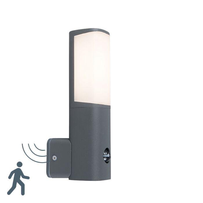Moderne-buitenlamp-donkergrijs-incl.-LED-met-bewegingssensor---Rico