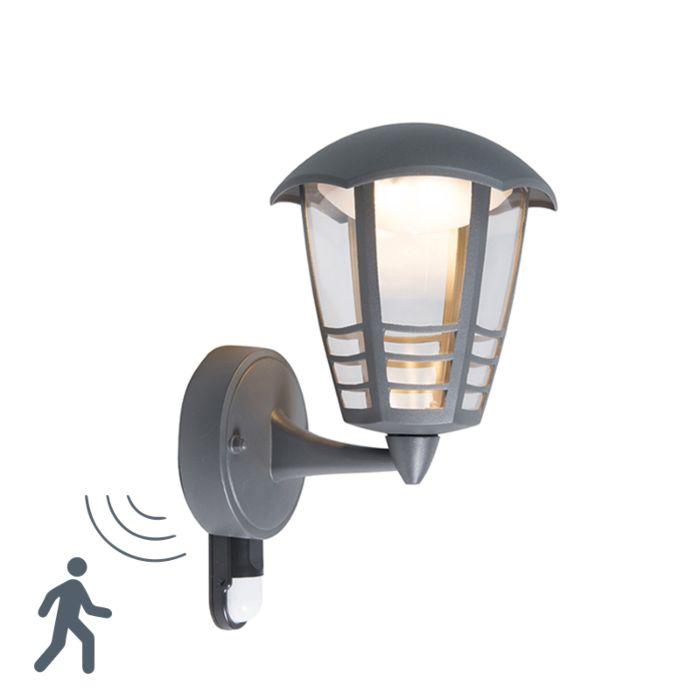 Moderne-buitenlamp-donkergrijs-incl.-LED-met-bewegingssensor---Mara