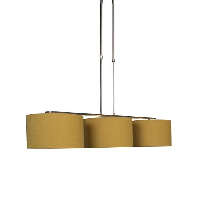 Moderne-hanglamp-staal-met-kap-35-cm-mais---Combi-3-Deluxe