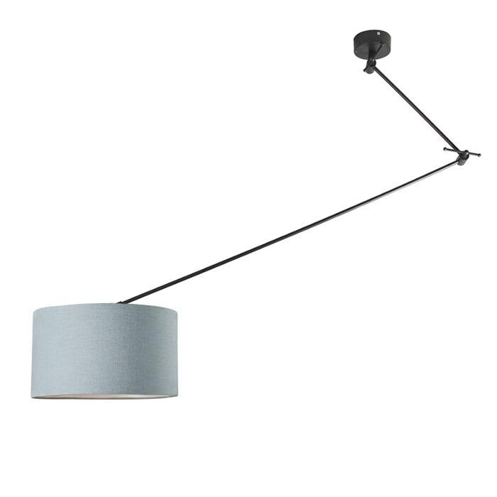 Hanglamp-zwart-met-kap-35-cm-lichtblauw-verstelbaar---Blitz-I